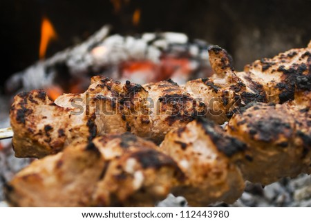 beef shish kabobs on the grill (selective focus)