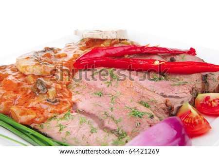 beef slice on white plate with peppers
