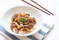 beef sliced on topped rice (GYUU-DON) - Japanese food style