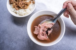 Beef soup - famous food in Taiwan, Asia, Asian Taiwanese street delicacy cuisine, close up, lifestyles, traditional breakfast in Taiwan.
