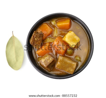 Beef Soup With Vegetables, Top View