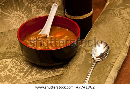 Beef Spicy Curry Soup with Spoons - stock photo