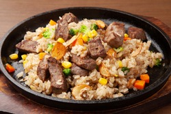 Beef steak and garlic rice
