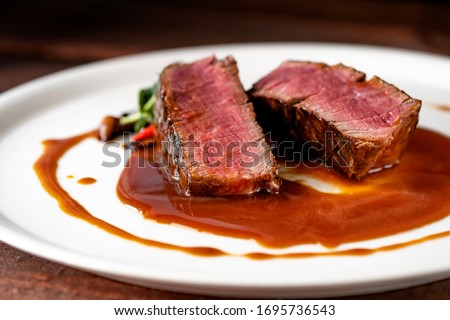 Beef steak filet Mignon in demiglas sauce medium rare Сток-фото ©