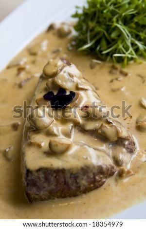 Beef steak in mushroom sauce