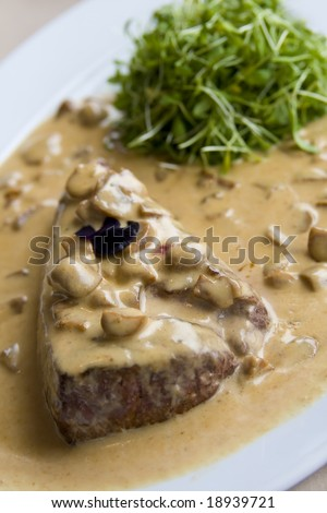 Beef steak in mushroom sauce - stock photo