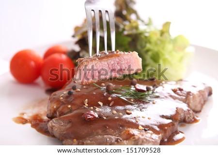 beef steak in white background