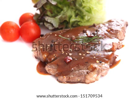 beef steak in white background