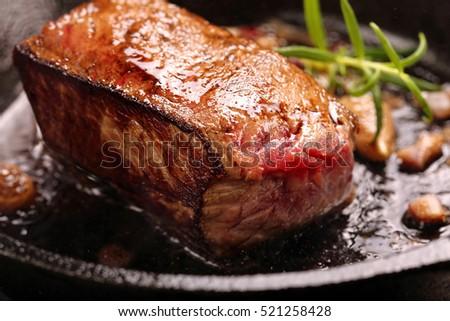 Beef steak on cast iron skillet