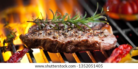 Beef Steak On Grill With Rosemary Pepper And Salt - Barbecue