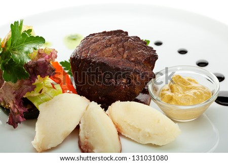 Beef Steak with Fresh Salad Leaf, Mashed Potato and Pesto Sauce