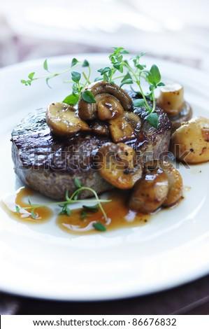 beef steak with mushrooms