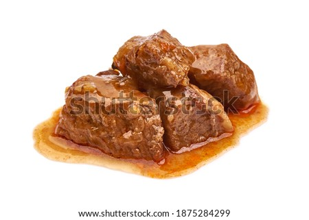 Beef stew, traditional homemade goulash, Hungarian bograch, isolated on white background. Photo stock ©