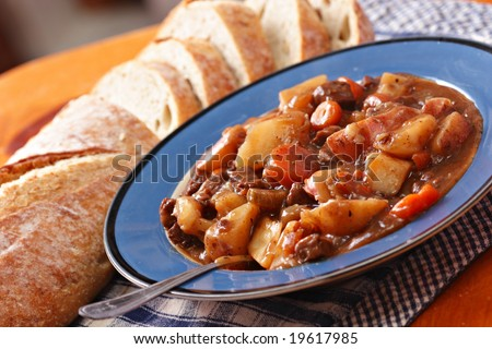 beef stew with bread loaf #19617985