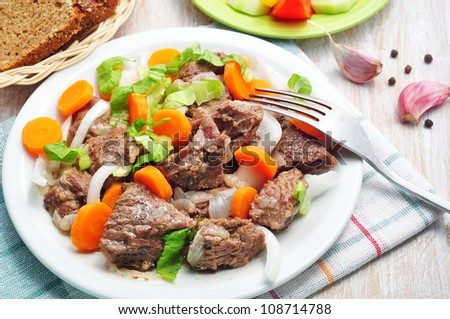Beef stew with onion and carrot