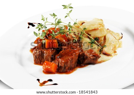 Beef Stew with Potato Served with Green. Isolated on White Background