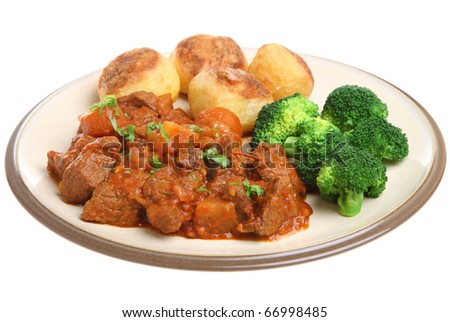 Beef Stew With Roast Potatoes And Broccoli. Stock Photo 66998485 ...