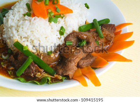 beef stir-fry with vegetable and rice asia food