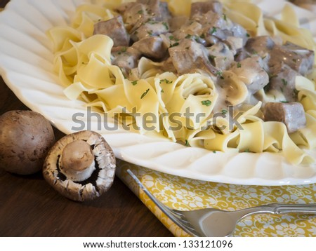 Beef stroganoff on egg noodles.