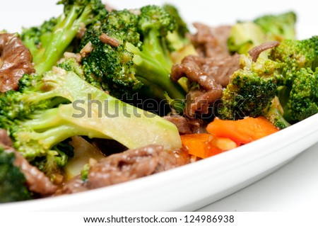 beef with broccoli, a chinese food take out item