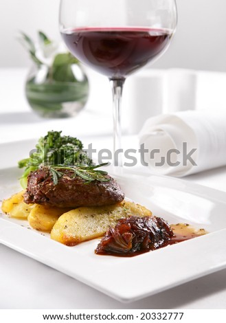 Beef with potato and cabbage in restaurant