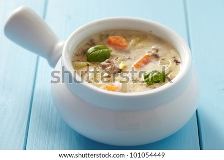 Beef with vegetable cheeseburger soup