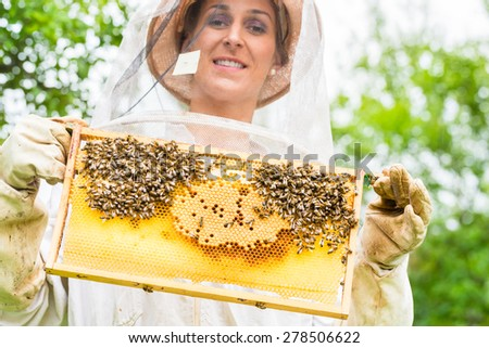 Beekeeper controlling beehive and comb frame