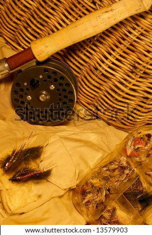 Been fishing, angling: vintage creel with rod & reel, flies & vest