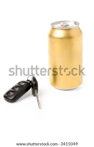 beer and car key, concept of drinking and driving