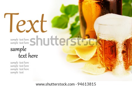 beer and chips on a white background  (With sample text)