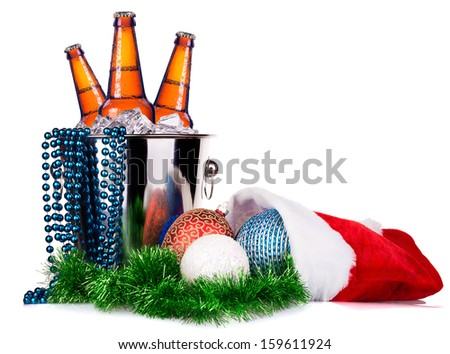 beer and christmas decor isolated on a white