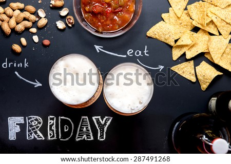 Beer and Snacks on Black Chalkboard with words Friday, Eat, Drink from above