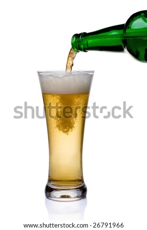 Beer being pour on a glass over a white background