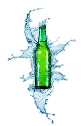 beer bottle being poured in a water on white