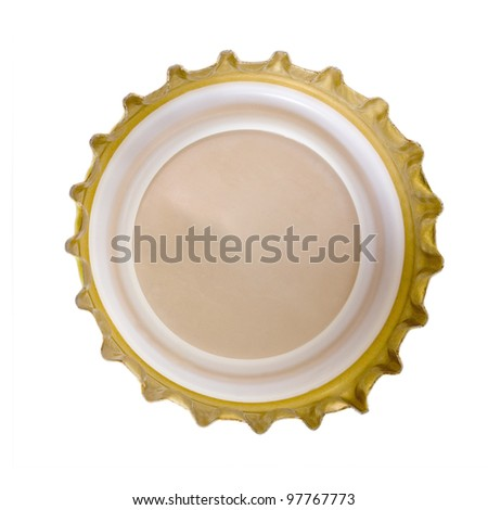 beer bottle cap back isolated on white background