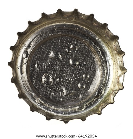 beer bottle cap close up macro  Isolated on white background