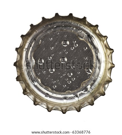 beer bottle cap with water drops close up macro  Isolated on white background