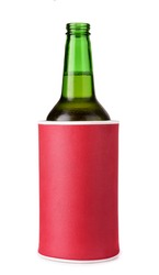 Beer bottle in insulation foam holder isolated on white