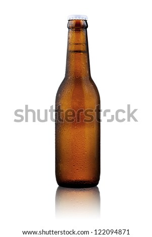 Beer bottle isolate on white background