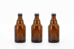 Beer Bottle Isolated on white background. Ready for your design. Real product packaging. Set of Bottles. Mock-Up. Blank Label
