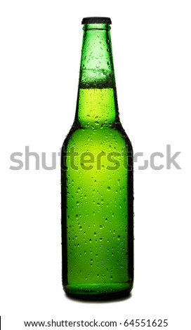 Beer bottle with drops isolated on white background, green beer bottle isolated