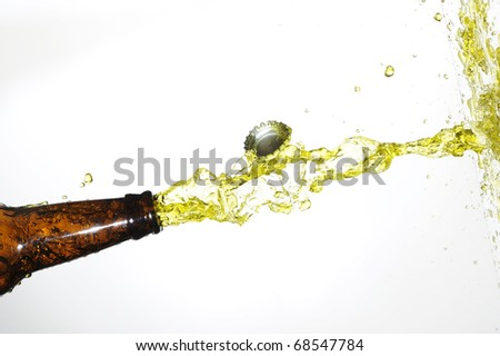 beer bottle with stream fresh drink - stock photo