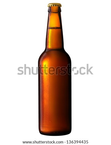 Beer bottle with water drops. Clipping Path