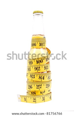 Beer Bottle Wrapped with Tape Measure