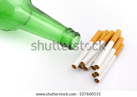 Beer bottles and cigarette
