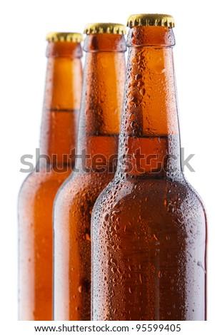 Beer bottles isolated on white background, studio still-life