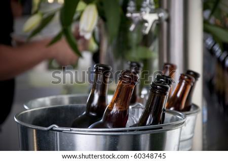 Beer bottles on ice