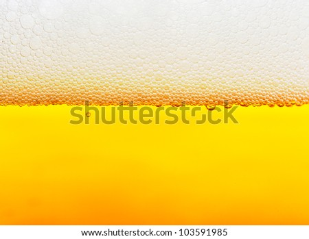 Beer bubbles close up