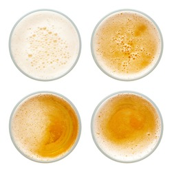 beer bubbles in glass cup on white background. top view collection isolated on white background.
