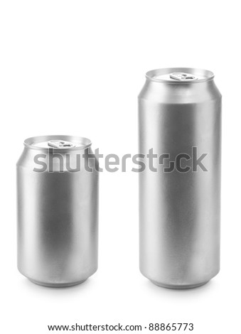 beer can 330 and 500 ml isolated on white background